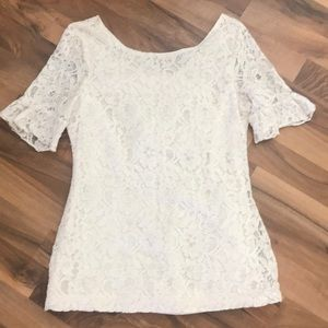 Tulle Ivory Lace Anthropologie Ruffle Slv Blouse